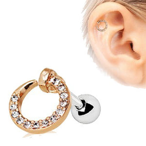 Rose Gold Jeweled Circular Ring Cartilage Earring
