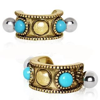 Antique Gold Plated Turquoise Cartilage Cuff Earring - Fashion Hut Jewelry