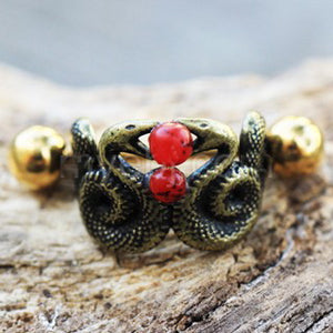 Blood Drop Double Snake Cartilage Cuff Earring - Fashion Hut Jewelry
