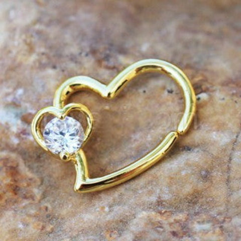 Gold Heart Cartilage Earring with Jeweled Heart