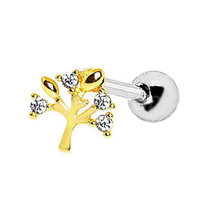 Yellow Gold Sparkling Tree of Life Cartilage Earring