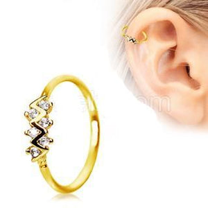 Gold Jeweled Zig-Zag Cartilage Earring / Nose Hoop Ring - Fashion Hut Jewelry