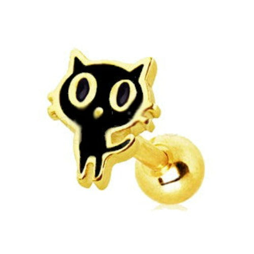 Gold Plated Black Alley Cat Cartilage Earring