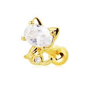 Gold Jeweled Kitty Cat Cartilage Earring - Fashion Hut Jewelry