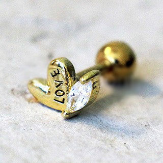 Gold Lovely Heart Cartilage Earring