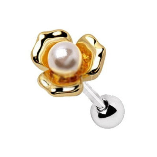 Gold Plated Pearl Flower Cartilage Earring - Fashion Hut Jewelry