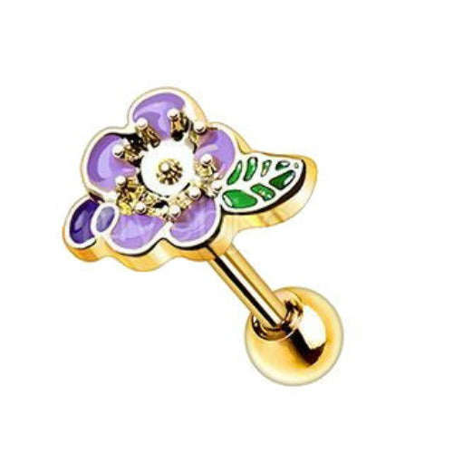 Gold Plated Lavender Flower Cartilage Earring - Fashion Hut Jewelry