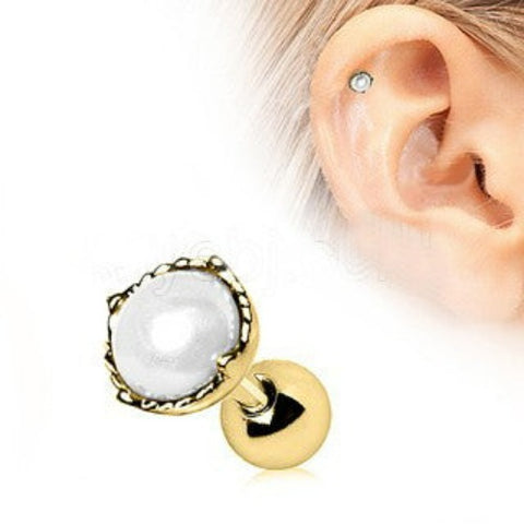 Gold Crown Pearl Cartilage Earring - Fashion Hut Jewelry