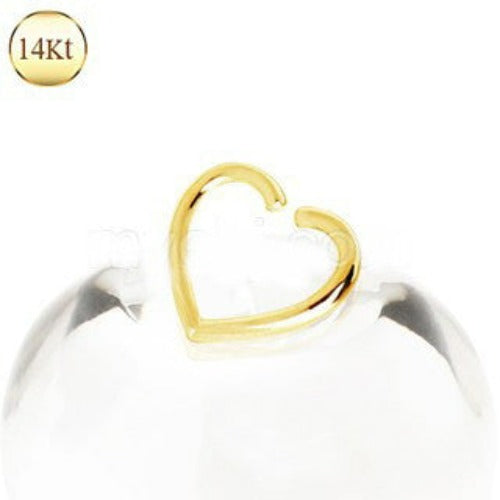 14Kt Yellow Gold Heart Shaped Cartilage Earring - Fashion Hut Jewelry