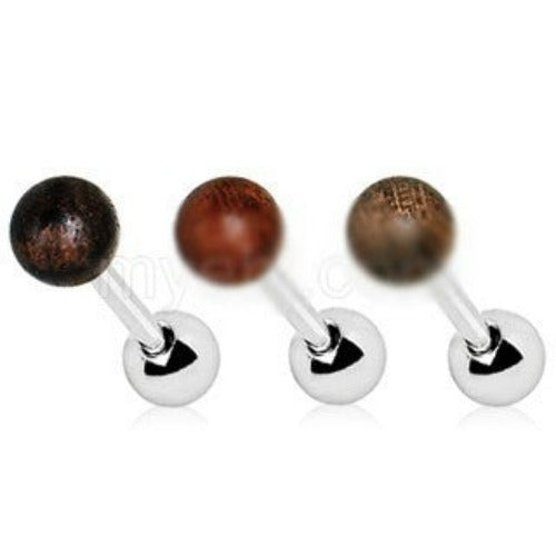 Natural Organic Wood Ball Cartilage Stud Earring - Fashion Hut Jewelry