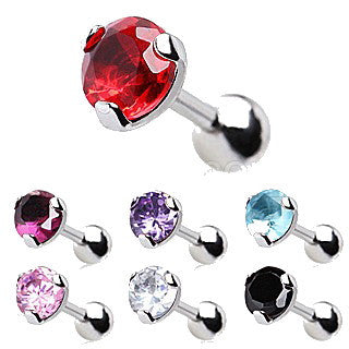 316L Surgical Steel Tragus / Cartilage Ring with Prong Set 5mm Round CZ - Fashion Hut Jewelry