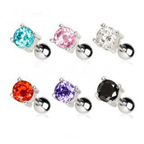 316L Surgical Steel Prong Set Round CZ Cartilage Earrings - (Pink) - Fashion Hut Jewelry