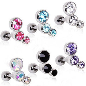 316L Surgical Steel Triple Round CZ Cartilage Earring - Fashion Hut Jewelry