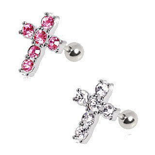 316L Surgical Steel Multi CZ Cross Stud Cartilage Earring - Fashion Hut Jewelry