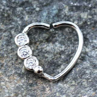 316L Stainless Steel Triple CZ Heart Annealed Cartilage Earring - Fashion Hut Jewelry