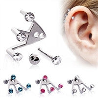 Trident Triple Round CZ Cartilage Earring - Fashion Hut Jewelry