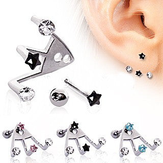 Trident Triple Star / Round CZ Cartilage Earring - Hot! - Fashion Hut Jewelry