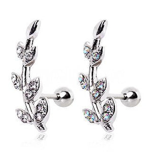 316L Surgical Steel Multi CZ Leaf Cartilage Earring - Fashion Hut Jewelry