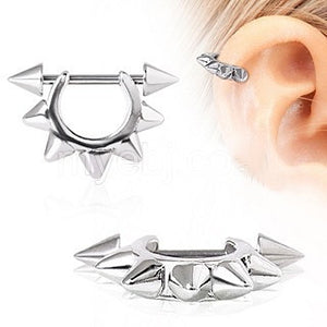 316L Surgical Steel Metal Spike Cartilage Cuff - Fashion Hut Jewelry