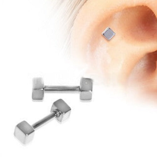 316L Surgical Steel Cubed Cartilage Earring - Fashion Hut Jewelry