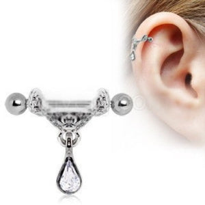 Celtic Floral Tiara Ear Cuff with Tear Drop Dangle - Fashion Hut Jewelry