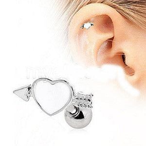 316L Surgical Steel Arrow Through Your Heart Cartilage Earring - Fashion Hut Jewelry