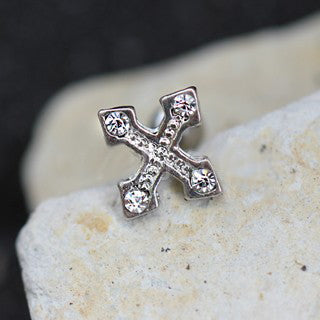 316L Stainless Steel Jeweled Cross Bottony Cartilage Earring - Fashion Hut Jewelry