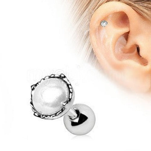 316L Stainless Steel Crown Pearl Cartilage Earring - Fashion Hut Jewelry