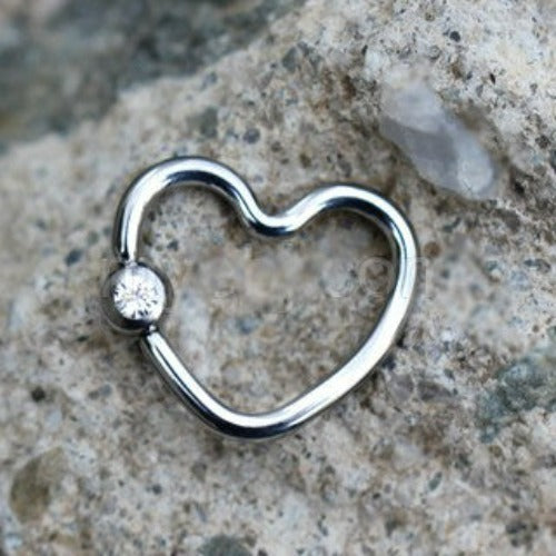 316L Stainless Steel Heart Captive Bead Ring with Clear CZ - Fashion Hut Jewelry