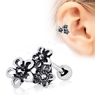 316L Stainless Steel Triple Accented Flower Cartilage Earring - Fashion Hut Jewelry