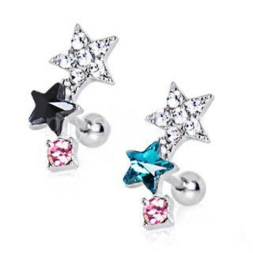 316L Stainless Steel Art of Brilliance Star Power Cartilage Earring - Fashion Hut Jewelry