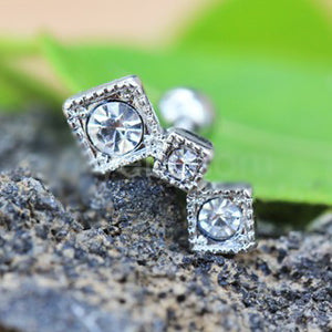 316L Stainless Steel Art of Brilliance Triple Square Drop Cartilage Earring - Fashion Hut Jewelry