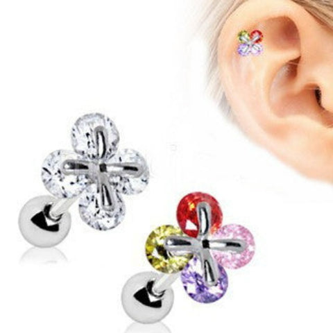 316L Stainless Steel Art of Brilliance Adorned Quatrefoil Cartilage Earring - Fashion Hut Jewelry