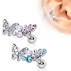 316L Stainless Steel Art of Brilliance Branched Butterfly Cartilage Earring - Fashion Hut Jewelry