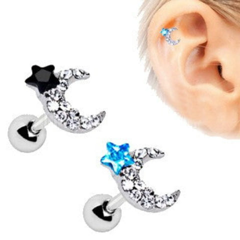 316L Stainless Steel Art of Brilliance To The Moon Cartilage Earring - Fashion Hut Jewelry