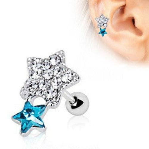 316L Stainless Steel Art of Brilliance Shining Star Cartilage Earring - Fashion Hut Jewelry