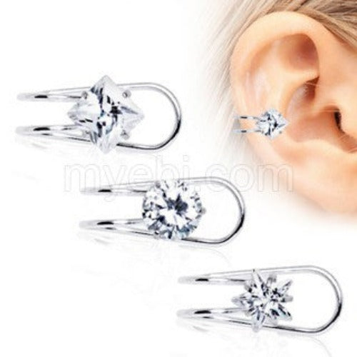316L Stainless Steel Clip-On Cartilage Earring with Multi-Shaped CZ - Fashion Hut Jewelry