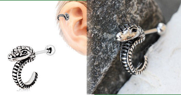 316L Stainless Steel Curved Snake Cartilage Earring - Fashion Hut Jewelry