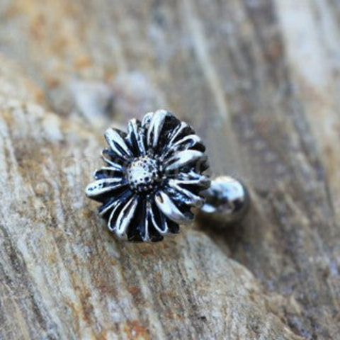 316L Stainless Steel Aster Flower Cartilage Earring - Fashion Hut Jewelry
