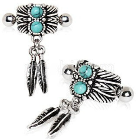 Turquoise & Feather Cartilage Cuff Earring - Fashion Hut Jewelry