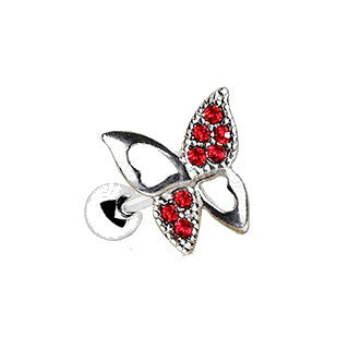 316L Stainless Steel Jeweled Butterfly Cartilage Earring - Fashion Hut Jewelry