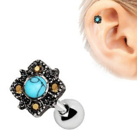 316L Stainless Steel Square Filigree Cartilage Earring with Turquoise - Fashion Hut Jewelry