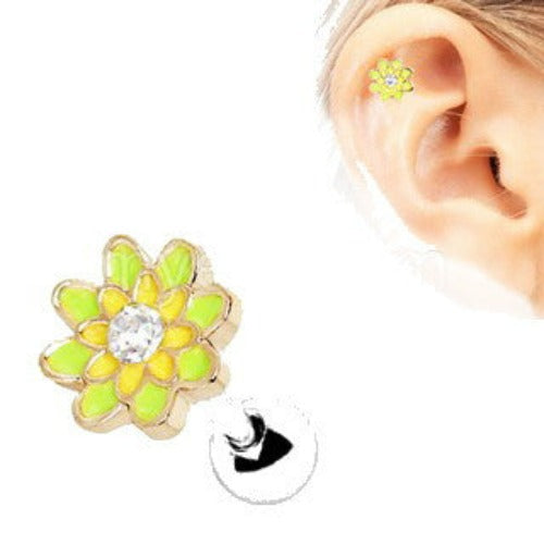 316L Stainless Steel Spring Flower Cartilage Earring - Fashion Hut Jewelry