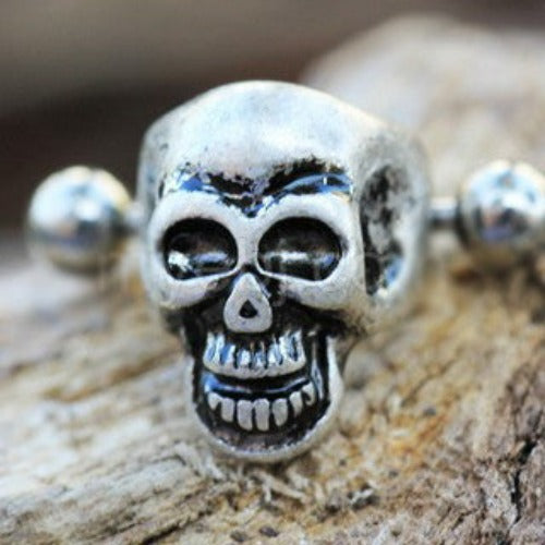 316L Stainless Steel Wicked Skull Cartilage Cuff Earring - Fashion Hut Jewelry