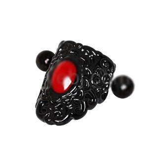 Gothic Black & Red Lace Cartilage Ear Cuff Earring - Fashion Hut Jewelry