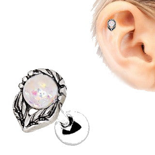 316L Stainless Steel Synthetic Opal Flower on a Stem Cartilage Earring - Fashion Hut Jewelry