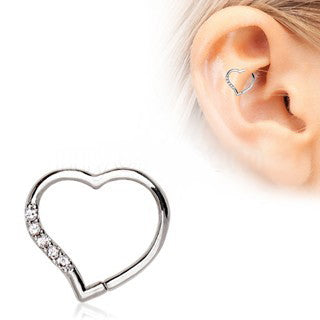 Annealed 316L Stainless Steel Jeweled Heart Cartilage Earring - Fashion Hut Jewelry