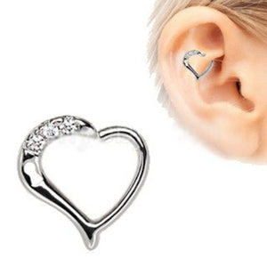 316L Stainless Steel Jeweled Heart Cartilage Tragus / Daith Earring with Keyhole - Fashion Hut Jewelry