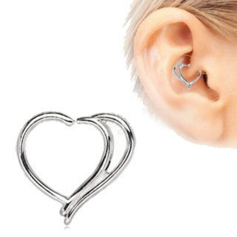 316L Stainless Steel Double Heart Cartilage Earring - Fashion Hut Jewelry