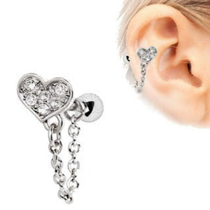 316L Stainless Steel Clear CZ Heart Chain Wrap Cartilage Earring - Fashion Hut Jewelry
